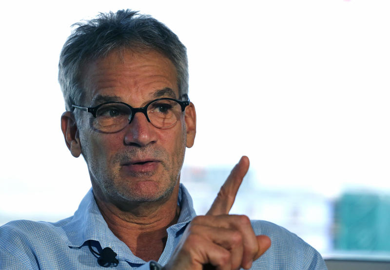 In this Sept. 17, 2014 file photo, Colorado-based author Jon Krakauer gestures during an interview in Denver.