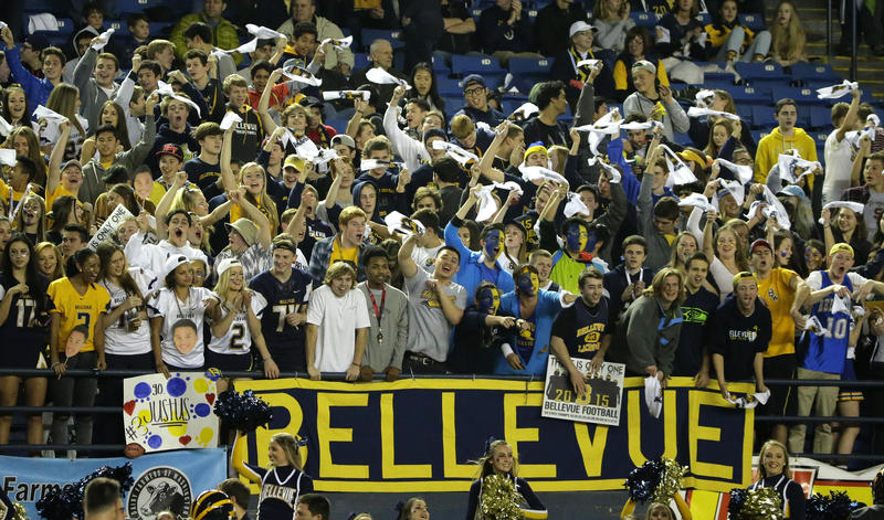 Bellevue High School fans cheer during the first half of the team's Class 3A high school football championship game against Eastside Catholic, Friday, Dec. 4, 2015.