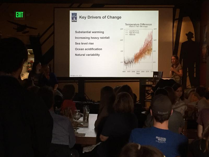 Amy Snover on climate change impacts at Naked City Brewery.