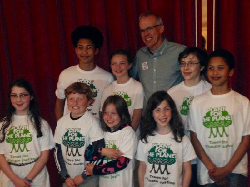 Bill McKibben with young climate activists at Town Hall Seattle.