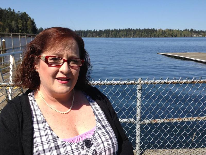 Kerry French at American Lake in Lakewood. She's campaigning for Sen. Ted Cruz in Pierce County.