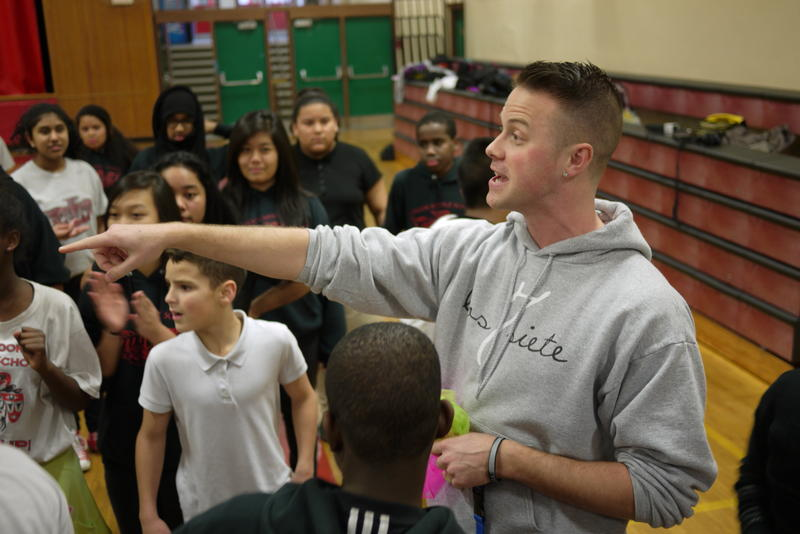 Teacher Reid Sundbad teaches P.E. at Chinook Middle School. He also meets with a group of Latino boys three times a week for a class called Advisory.