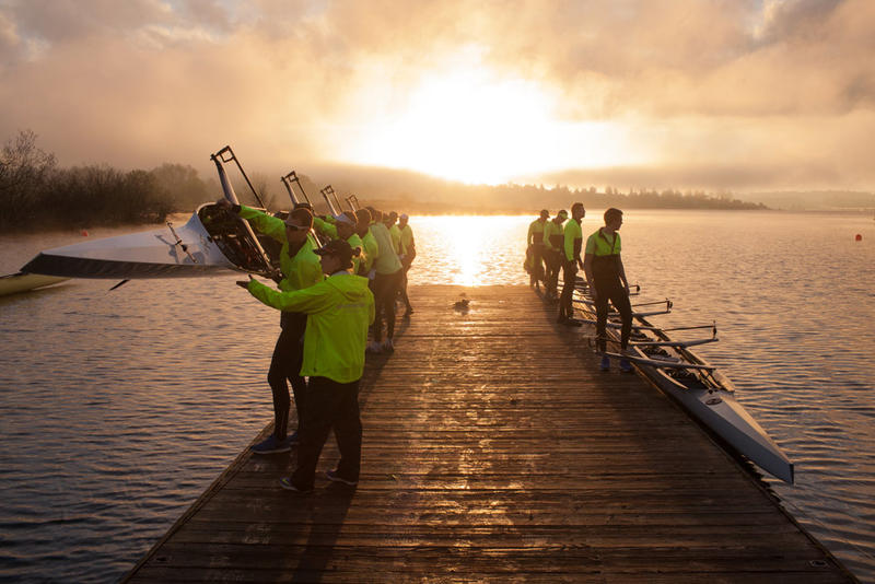The University of Washington men's rowing team prepares to launch their shells during an early morning practice.