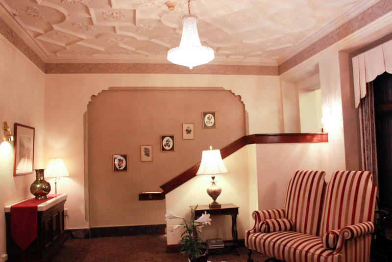 The lobby at Exeter House, which was built as a luxury, live-in hotel in the 1920s.