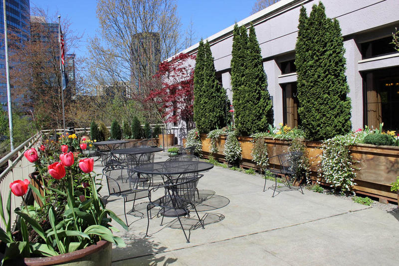 The terrace at Exeter House in downtown Seattle. The building is being sold.