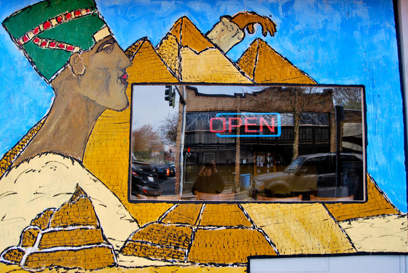 The mural at Hummus Cafe, at North 85th Street and Greenwood Avenue North. Across the street, a similar restaurant, Mr. Gyro, was demolished by the blast.