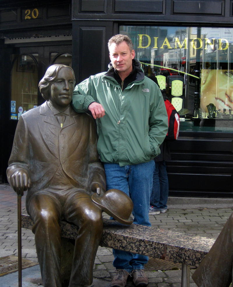 Timothy Egan (with Oscar Wilde) in Galway, Ireland
