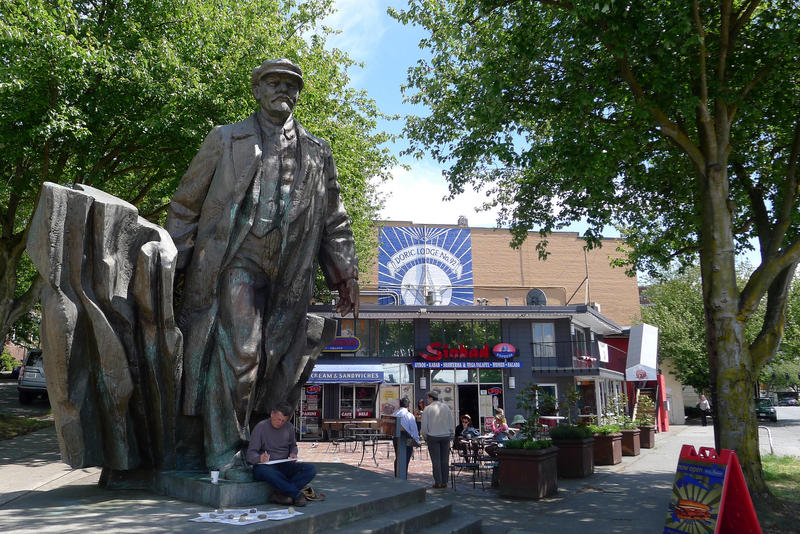 A statue of Russian revolutionary leader Vladimir Lenin in Seattle's Fremont neighborhood.