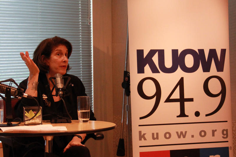 NPR political correspondent Mara Liasson speaking at KUOW studios on March 31, 2016.