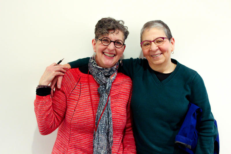 KUOW's Marcie Sillman with book hugger Nancy Pearl.