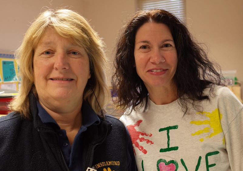 Quinsigamond's assistant principal, Nancy O'Coin, left, with preschool teacher Cindy Bly.  O'Coin says many pupils come from stressed families. 'We need to support children emotionally because they can't learn without that help,' says O'Coin.