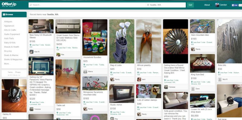 OfferUp website shows goods being offered near the user.