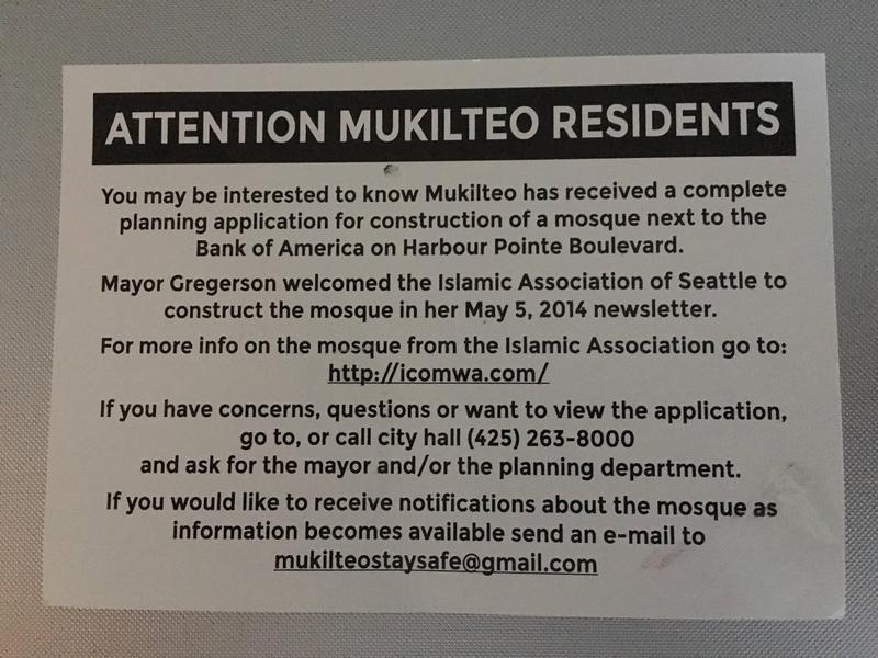 Postcards Peter Zieve sent to Mukilteo residents about proposed mosque.