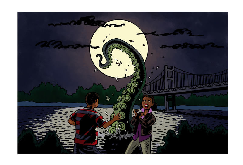 Douglass Brown was walking down Titlow Beach in Tacoma with a girl he liked when he saw a giant thing - that looked like an octopus tentacle - emerge from the water. He ran, screaming.