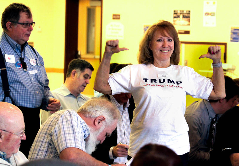Barbara Hagstrom of Duvall shows off her Trump t-shirt at the 5th Legislative District GOP Caucus.