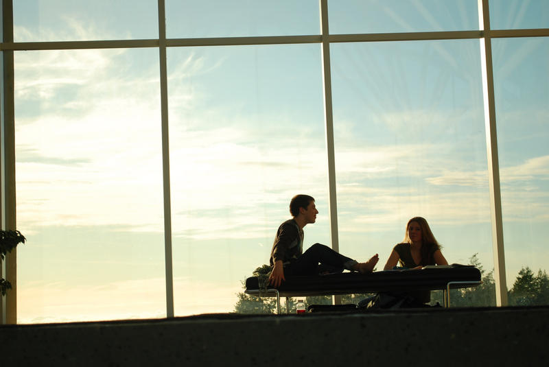 Students on the 7th floor of Koerner Library, University of British Columbia.