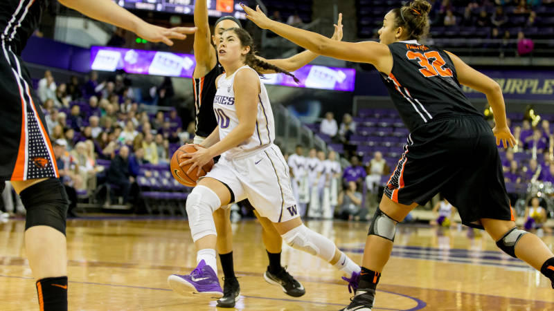Husky guard Kelsey Plum. The Huskies will play in the Final Four against Syracuse on Sunday.