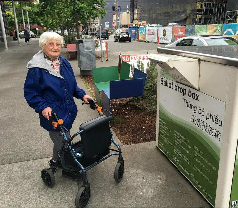 Madelyne Kassebaum says she's 100 years old and has voted in nearly every election she could. 'That's my duty,' she said as she dropped off her ballot outside the Ballard public library on Tuesday, May 24, 2016.