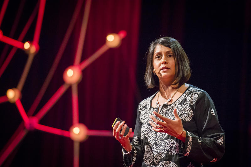 Journalist Sonia Shah at her 2013 TED talk in Edinburgh, Scotland.