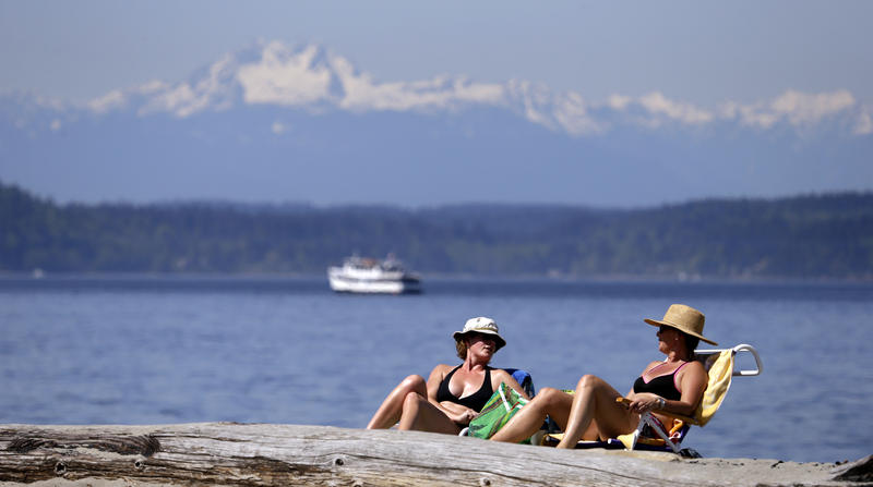 Beach-goers in Seattle enjoy a Puget Sound shore in Seattle.