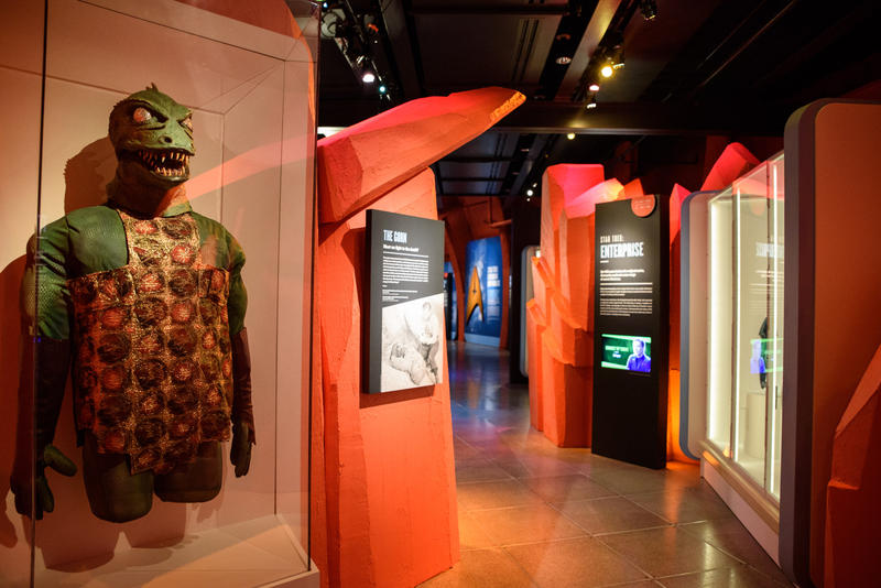 The mask and costume of the 'Gorn,' a fictionalized species featured on 'Star Trek: The Original Series.'