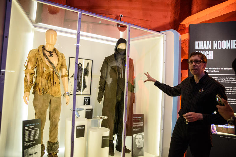 Brooks Peck, curator of 'Star Trek: Exploring New Worlds,' gives a tour of the exhibit.