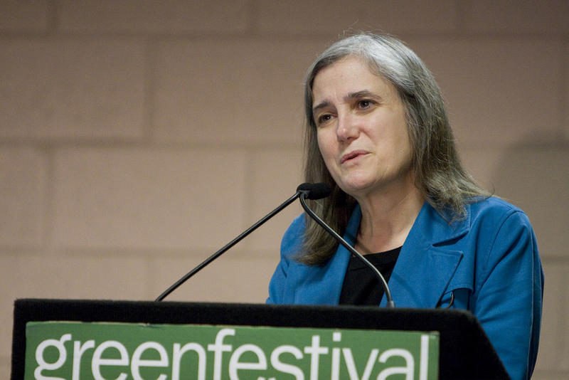 Amy Goodman, host of Democracy Now!, addressing the Chicago Green Festival in 2010.