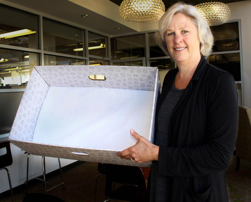 Rebecca Benson, a public health nurse in King County, holds up a box now being given to parents for their babies to sleep in. Benson, who shared a bed with her own babies, now believes that giving babies their own space to sleep is preferable.