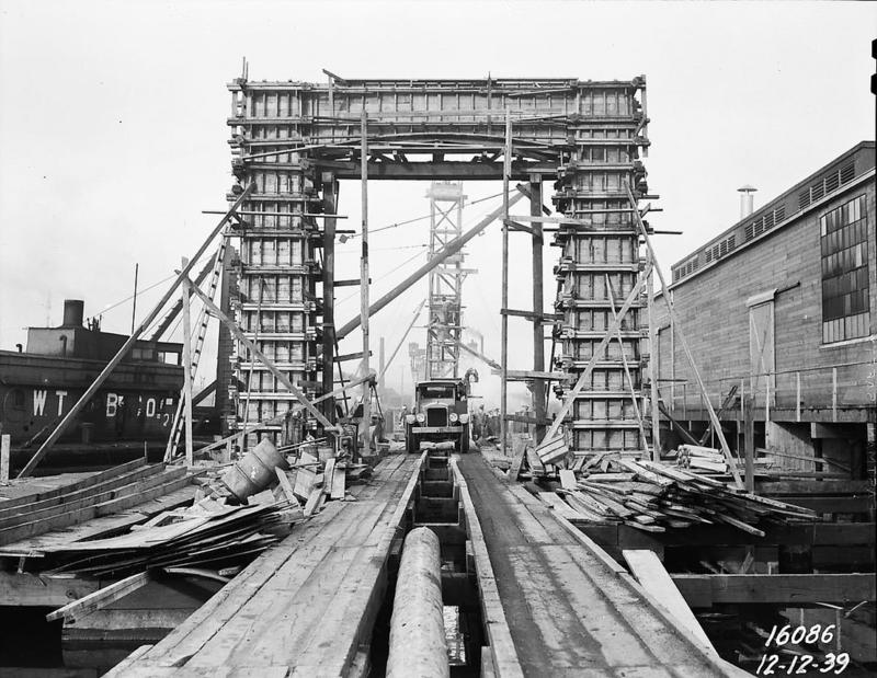 Ballard Bridge south approach under construction, 1939