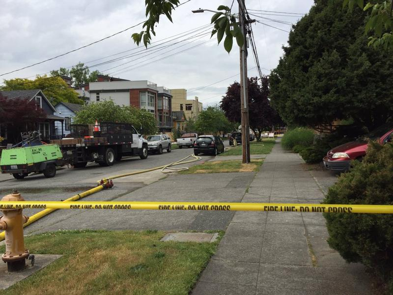 Seattle Fire Department tweeted this picture of the scene of a gas leak in Ballard on Wednesday, May 18.