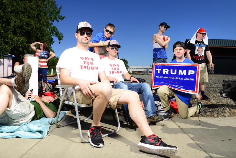 "Supporters wearing ""Gays for Trump"" shirts at a rally for presidential frontronner Donald Trump rally in Lynden, Washington, on Saturday, May 7."