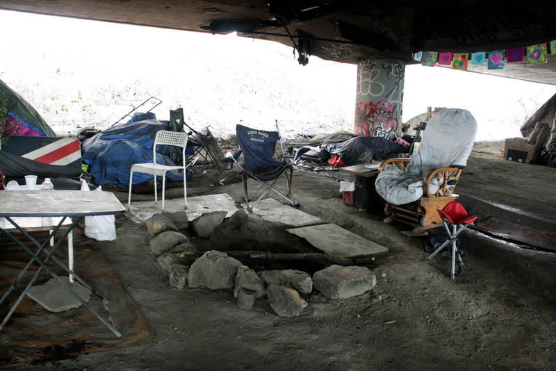 A camp area at the caves in the north part of the Jungle, Seattle's notorious homeless encampment that leapt onto the map after a fatal shooting in January.