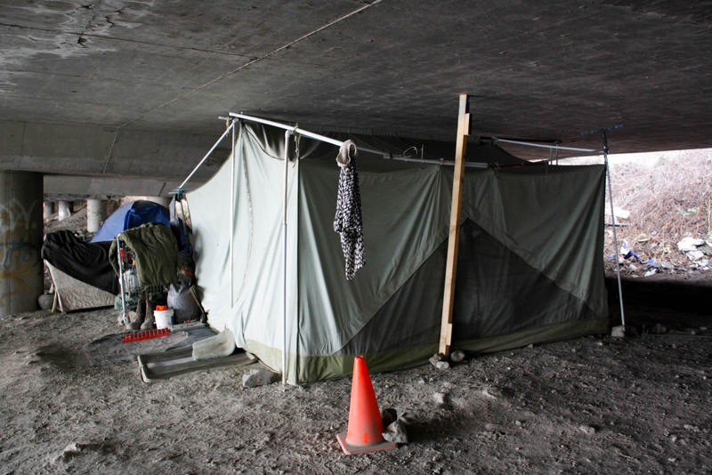 A tent in the Jungle, a Seattle homeless encampment believed to have grown out of the original homeless hobo jungle during the Great Depression of the 1930s.
