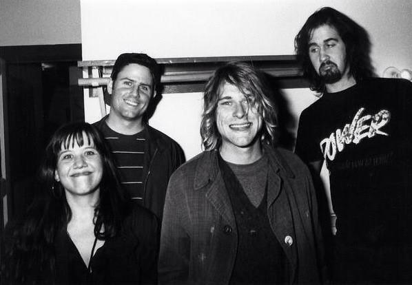 Marco Collins, second from left, with Kurt Cobain and Krist Novoselic of Nirvana  when Nevermind was released. Far left, Susie Tennant Geffen, DGC rep for Seattle (and one of Kurt's longtime friends).