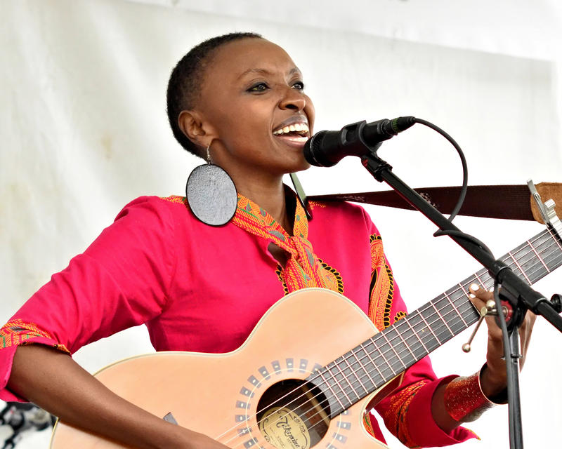 Naomi Wachira performs her song 'African Girl' at the Northwest Folklife Festival at Seattle Center on Sunday, May 29, 2016.