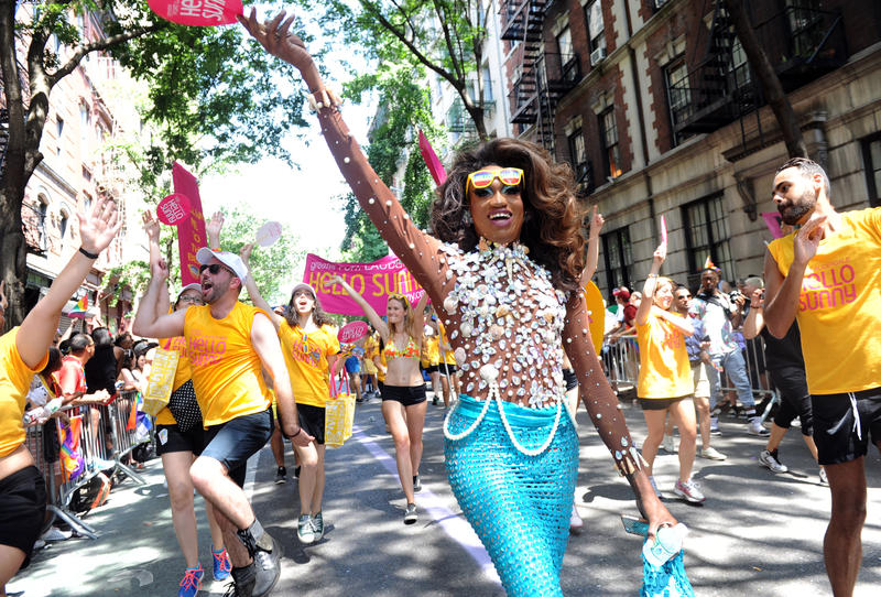 Lashauwn Beyond, of Fort Lauderdale, Florida, a finalist in RuPaul's Drag Race and the face of the Greater Fort Lauderdale Convention & Visitors Bureau LGBT campaign, marches in the New York Gay Pride Parade in 2014.