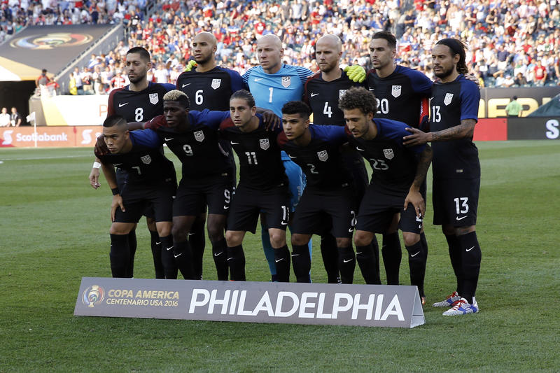 The U.S. Men's National Team poses ahead of a Copa America match against Paraguay on June 11.