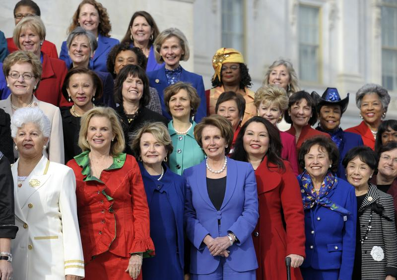 Female House members on the steps of the House on Capitol Hill in Washington, D.C.  Jan. 3, 2013, prior to the official opening of the 113th Congress.