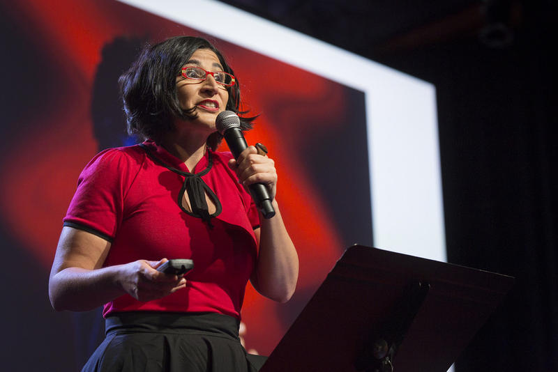 Negin Farsad performs at TEDWomen2015, May 29, 2015.