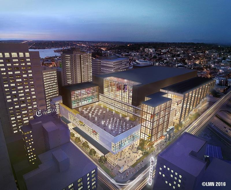 An aerial view of the proposed addition of the Washington State Convention Center.