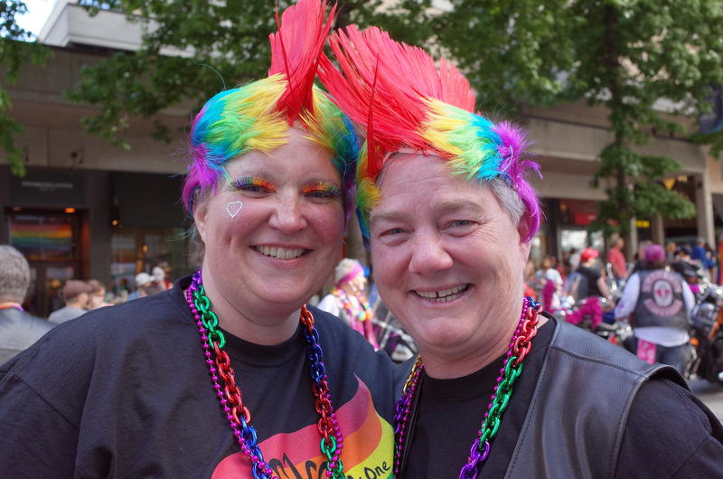 Barb Brown and Ozzie Wheeler met at the pride parade last year. They said they considered the possibility of violence at this year's parade. But Wheeler said, 'I'd rather come out and risk being slaughtered for who I am than live in the closet.'