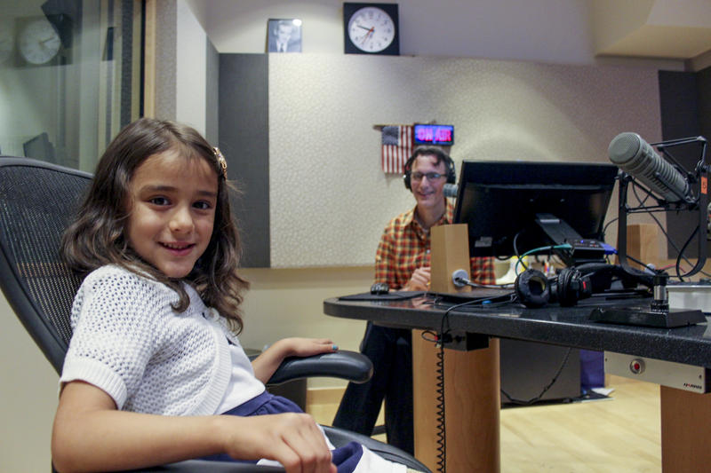 Ellie Suastez chats with Bill Radke at the KUOW studios.`