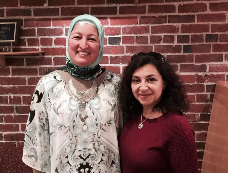 Poets Faiza Sultan and Lena Khalaf Tuffaha at the KUOW studio.