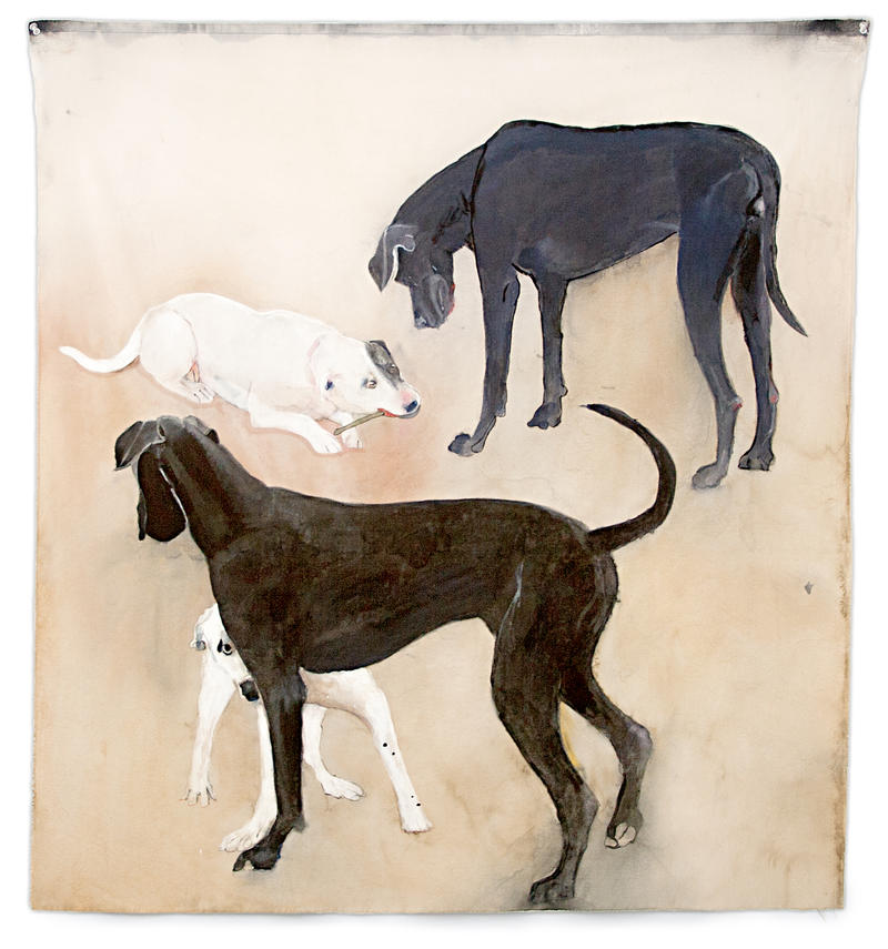 ONE BLACK, ONE WHITE, 2014 gouache on cotton 39 x 36.5 inches