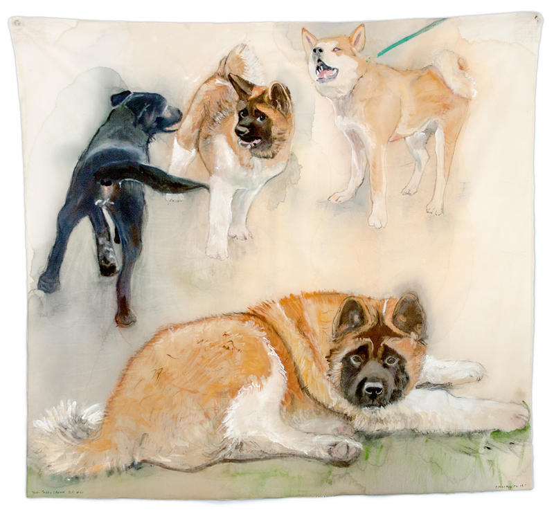 YUKI, TEDDY, ANNA, 2015 Gouache on cotton 31.5 x 35 inches