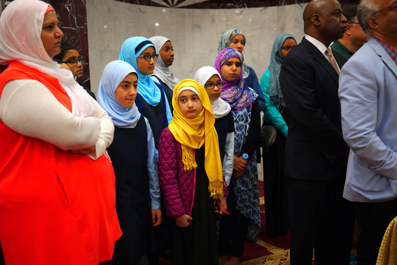 Middle school students at the Muslim Association of Puget Sound attend a press conference concerning a recent threat following the Orlando shooting.