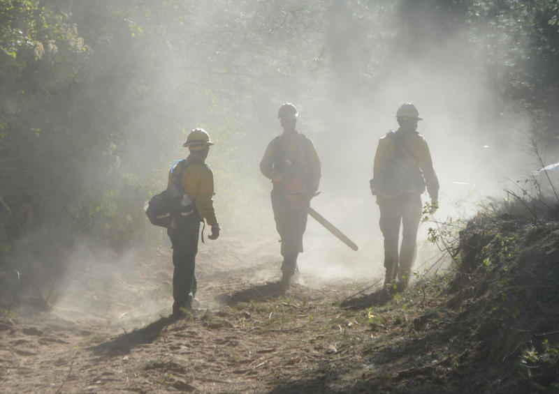 Firefighters on the fire line at the Blue Creek Fire, located east of Walla Walla, Wash. It began on July 20, 2015 and consumed an estimated 6,004 acres.