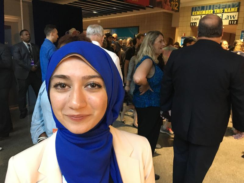 "UW student Varisha Khan at the Democratic National Convention in July. She says it's important  that ""the hate speech they we're hearing -- the hate speech that's become the norm -- that that gets challenged."""