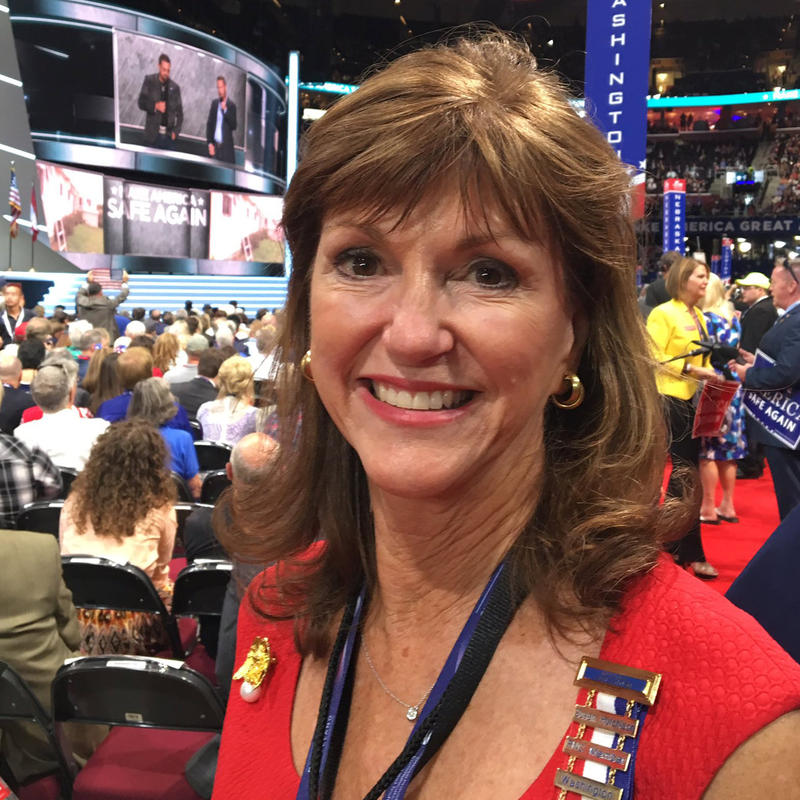Susan Hutchison, chair of the Washington state Republican Party, at the GOP convention in Cleveland on July 18.