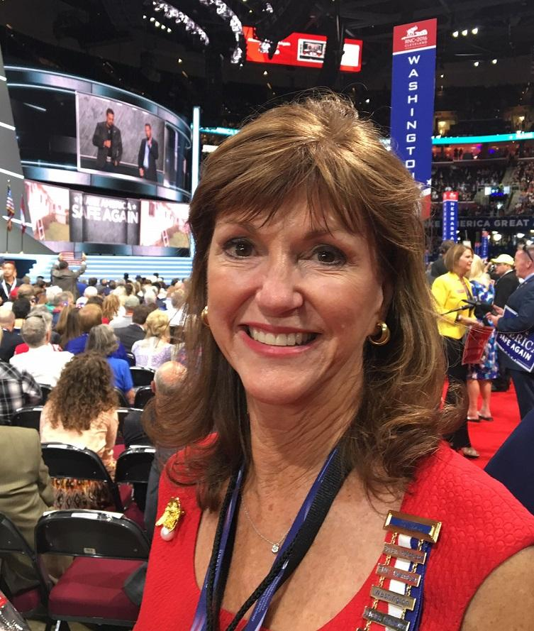 Washington state GOP chair Susan Hutchison on the floor of the Republican convention in Cleveland in 2016.